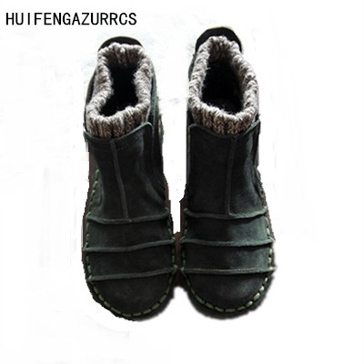 HUIFENGAZURRCS-New Genuine leather shoes,Pure handmade flats shoes,The retro art mori girl shoes,Fashion retro boots,3 colors huifengazurrcs new genuine leather