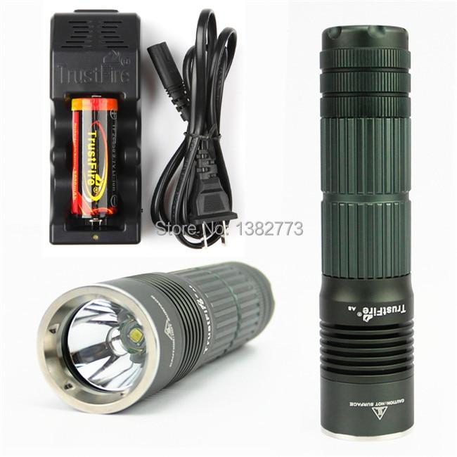 ФОТО CREE XM-L T6 TrustFire A8 1800 Lumens 5 Mode Pocket Led Bike Flashlight Light With 26650 5000mah battery and eu us charger