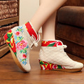 2016 new national canvas embroidered boots Mesh fabric summer Ethnic embroidery floral boots women's singles shoes