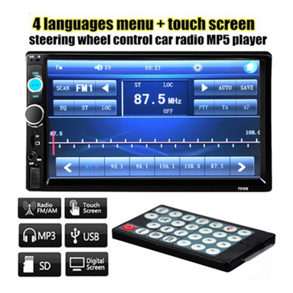 Double 2 DIN Car Bluetooth Audio 7in HD Radio In Dash Touch Screen Stereo MP3 MP5 Player 7010B USB Steering Wheel Control 2017 new 2 din car dvd player double radio stereo in dash mp3 head cd camera parking hd video audio 800 x 480 touch screen