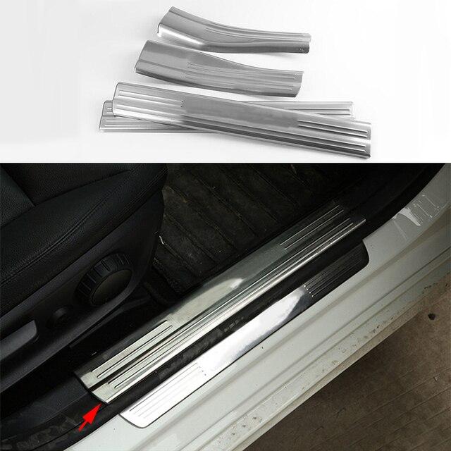 Chrome Acier Inoxydable 4x En Acier Porte Intérieure Sill plat D'usure Garniture pour Mercedes Benz Une Classe W176 2013-2016 & B W246 13-16