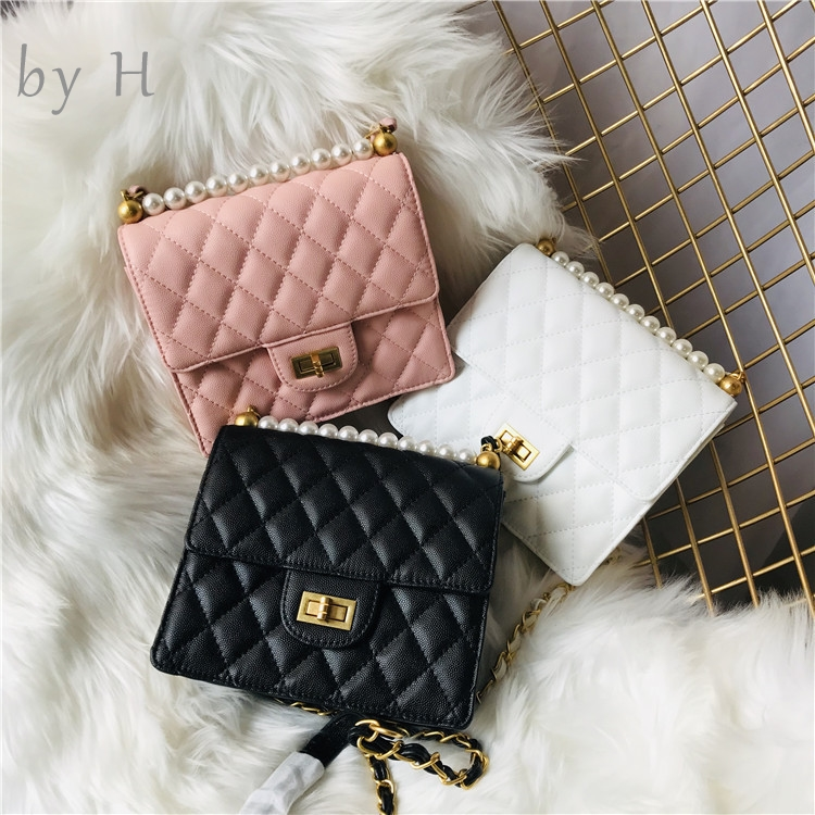 by H genuine leather mini pearl bag new designers flap bag quilted bag shoulder bag cavair purse pink white black phone bag
