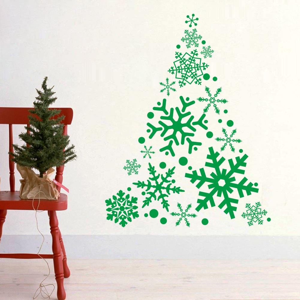 large snowflake diy wall stickers for home christmas decorations xmas tree designs wall decals vinyl wall sticker for shop store in wall stickers from home