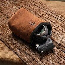 Mochila artesanal de couro genuíno, mais novo bolsa artesanal para câmera, em cor marrom