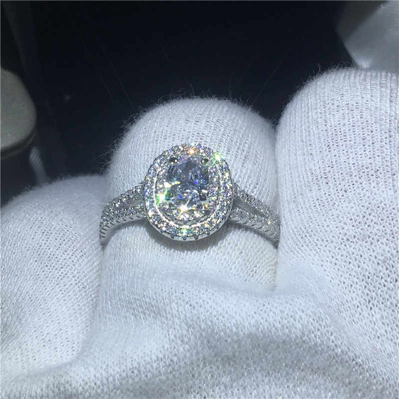 Luxury Oval 100% Solid 925 แหวนเงินแท้ 1CT Sona 5A zircon หิน CZ งานแต่งงานแหวนผู้หญิงผู้ชายเครื่องประดับ