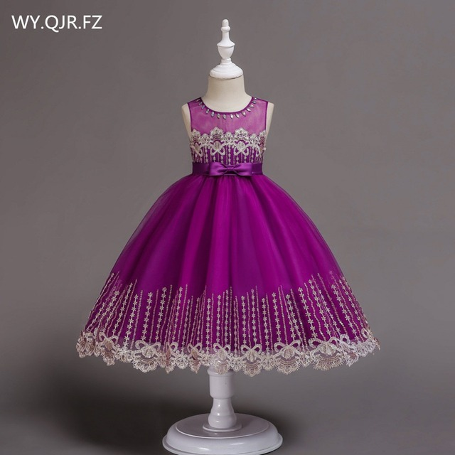 BH598#Flower Girl Dresses Children's wear 2018 autumn winter new lace sequins embroidered Violet Yarn short princess dress prom