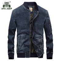 AFS JEEP Men Autumn Winter Fashion Casual Brand High Quality Cotton Cowboy Jacket Coat Man Spring