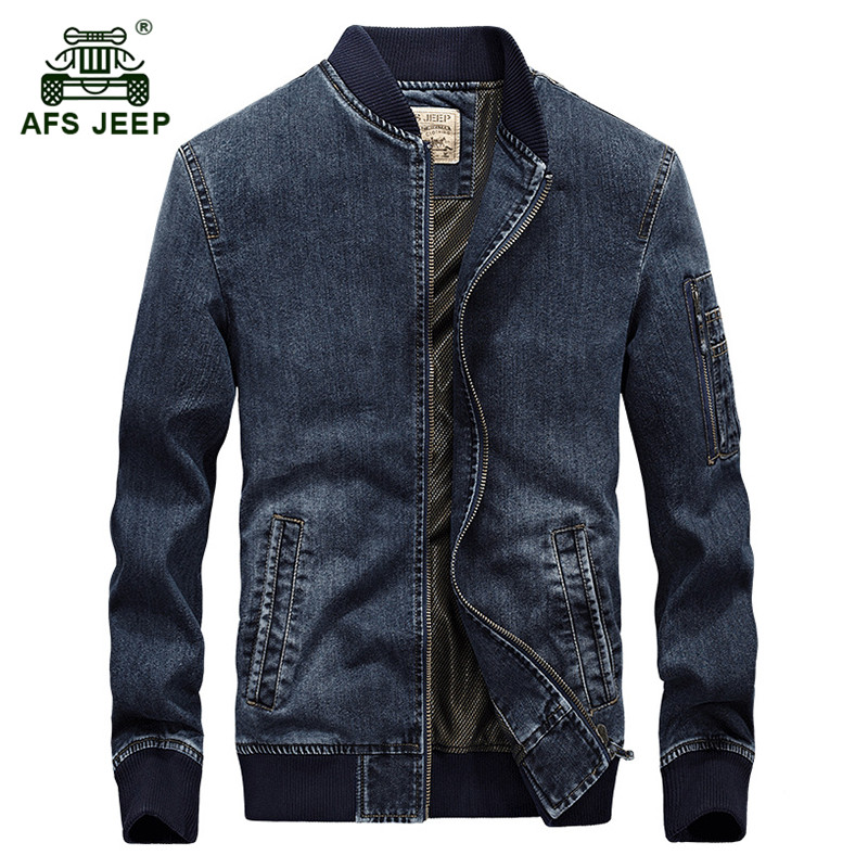 AFS JEEP 2017 Men autumn winter fashion casual brand high quality cotton cowboy jacket coat man spring denim blue jackets coats new afs jeep brand autumn and winter man jeans men pants straight cotton male denim brand jeans more pocket overalls