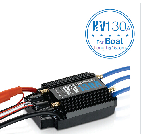 Hobbywing SeaKing HV V3 Waterproof ESC  130A No BEC 5-12S Lipo Brushless ESC for RC Racing Boat F18584 hobbywing ezrun max8 v3 t trx plug waterproof 150a esc brushless esc 4274 2200kv motor led program card for 1 8 rc car crawler
