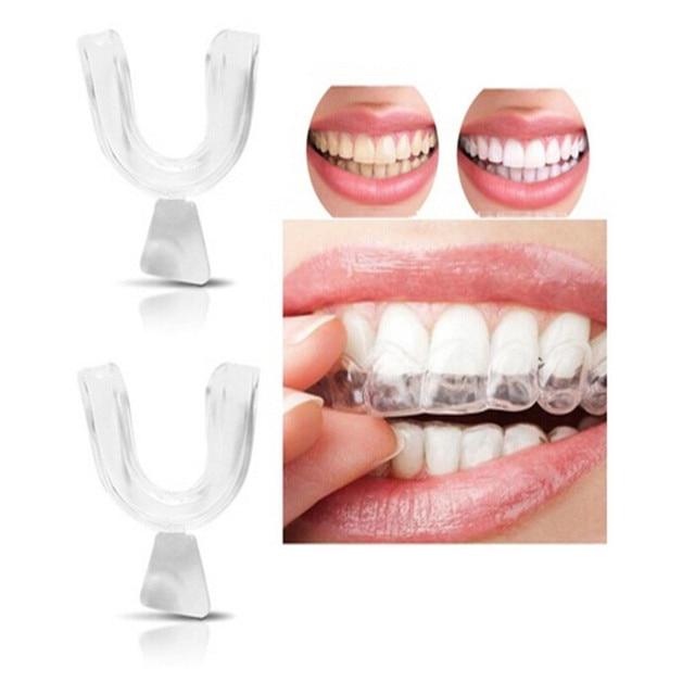 2 unids/lote protector de boca de noche de silicona para la molienda de dientes mordedura Dental para blanquear los dientes bandeja de boca