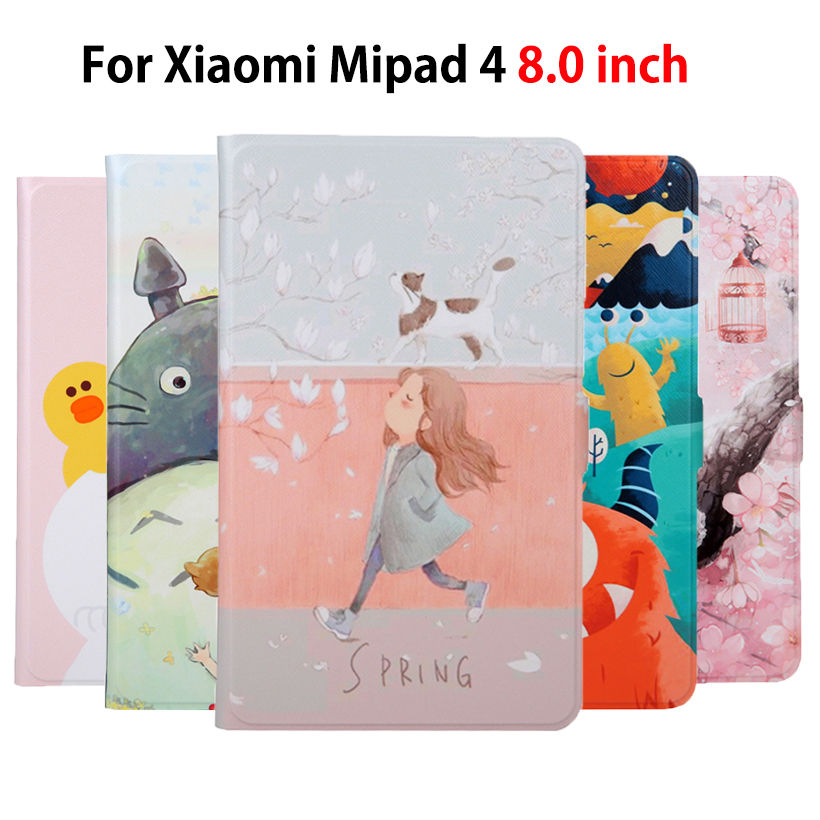Slim PU Funda de piel para Xiaomi Mi Pad MiPad 4 Mipad4 8,0 pulgadas Smart Cover, Funda de Tablet pintado de la cáscara de la piel + Film + Stylus
