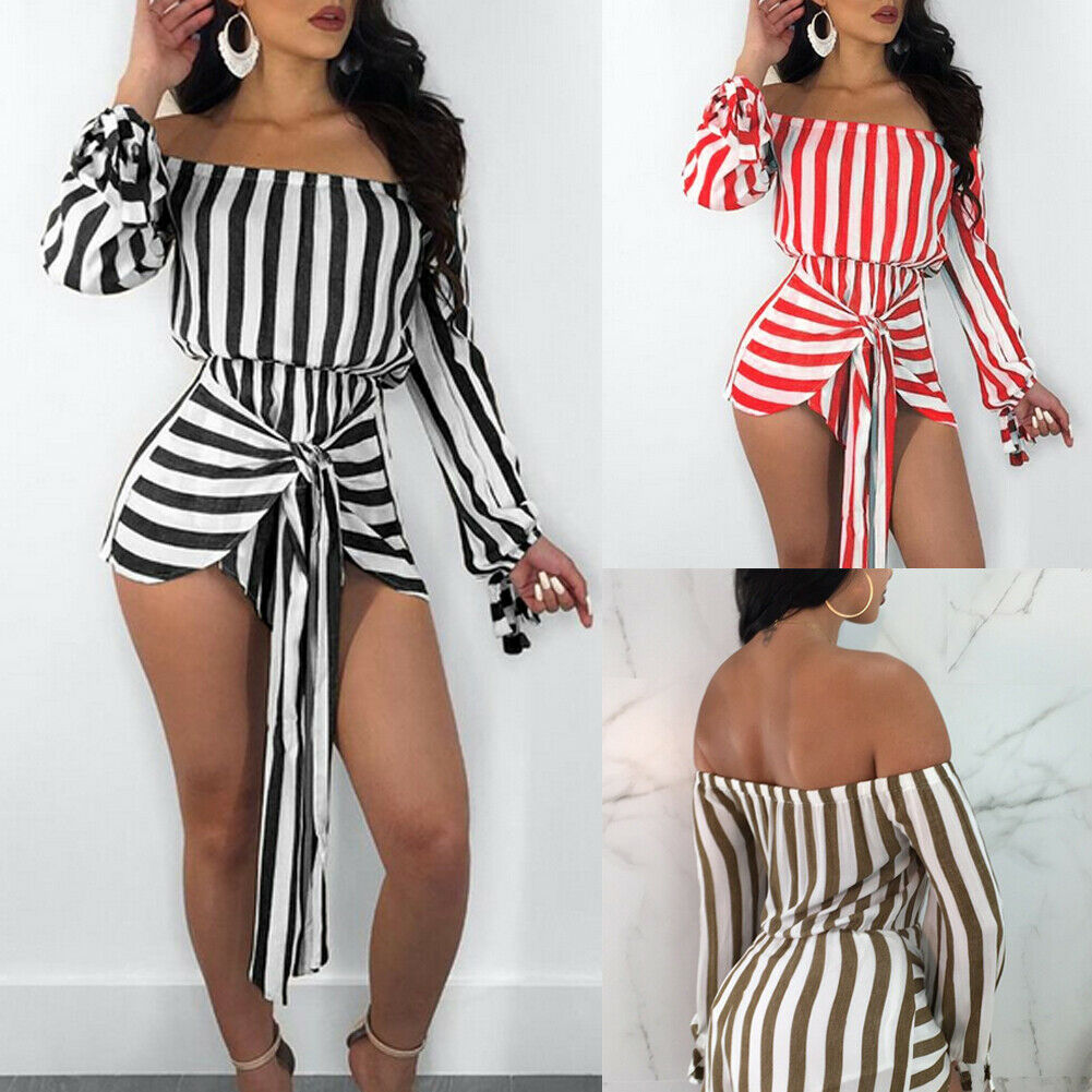 New Women Ladies Summer Long T-shirt Striped Playsuit Bodycon Party Clubwear Jumpsuit Romper Trousers Shorts S M L XL XXL