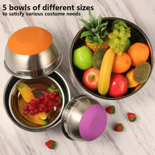 Stainless Steel Mixing Bowls (Set of 5) Non Slip Silicone Bottom Nesting Storage Bowls Meal Mixing Prepping 1.5-2 – 2.5-3.5 -5QT