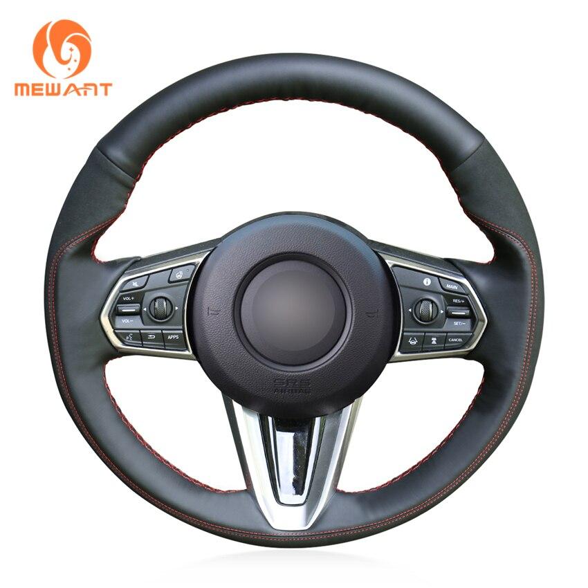 MEWANT Black Genuine Leather Black Suede Car Steering