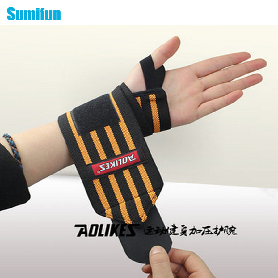 1Pair Weight Lifting Sports Wristband Gym Wrist Thumb Suppors