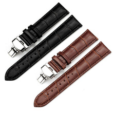 New Strap Cowhide Genuine Leather Watch Bracelet Replacement Watchband Butterfly Buckle Black Brown