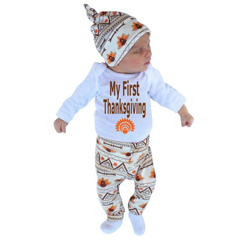 Thanksgiving Baby Clothes Set Newborn Letter Print Rompers Winter Warm Cotton Boys Girls Long Sleeve Tops Pants Hat 3pcs set newborn girls christmas clothes set warm hat letter print romper love arrow print pants leisure toddler baby outfit set