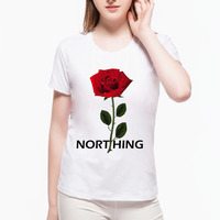 Nothing Letter Rose Floral Print T Shirt 2017 Summer Harajuku T Shirt Women Short Sleeve Shirts