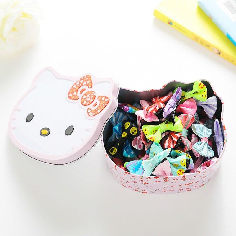 #AD17075 50pcs/lot Hot Sale Ribbon Bow Girls Hairpins Hair Clip Hello Kitty Packing Hair Barrettes