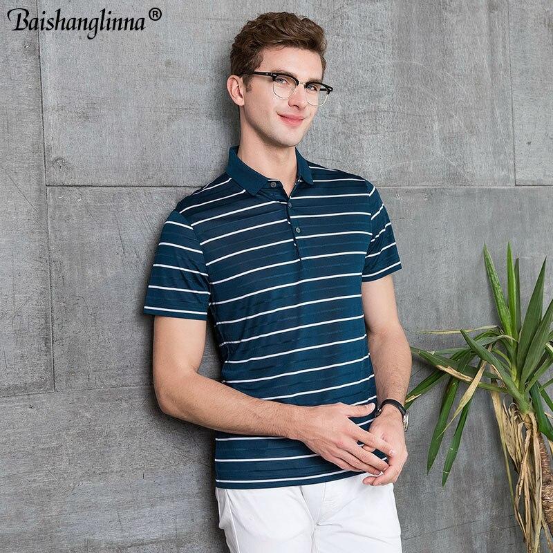 Baishangoinna D'été Streetwear Casual Plus La Taille Hommes de Polo Marque Doux Soie Hommes Rayé À Manches Courtes Polo Chemises Mâle