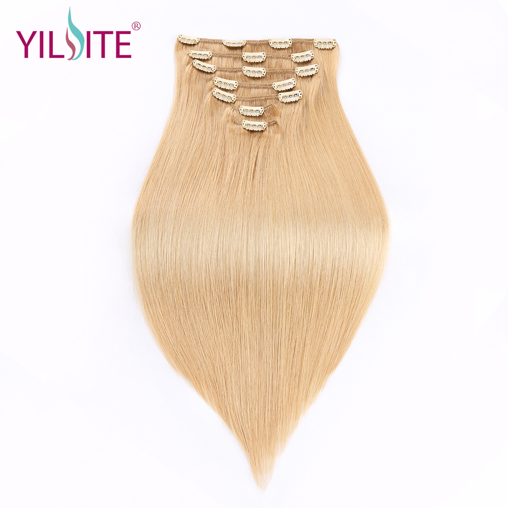 YILITE Double Drawn Clip In Hair Extensions 7pieces European Remy Hair Weft Color #16 Clip Human Hair Extensions 16inch 7colors