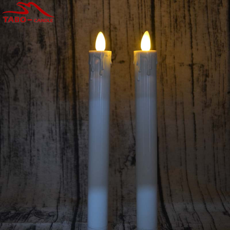 moving wick flameless led taper candle ivory colored resin 2aa battery wonderful for christmas holloween