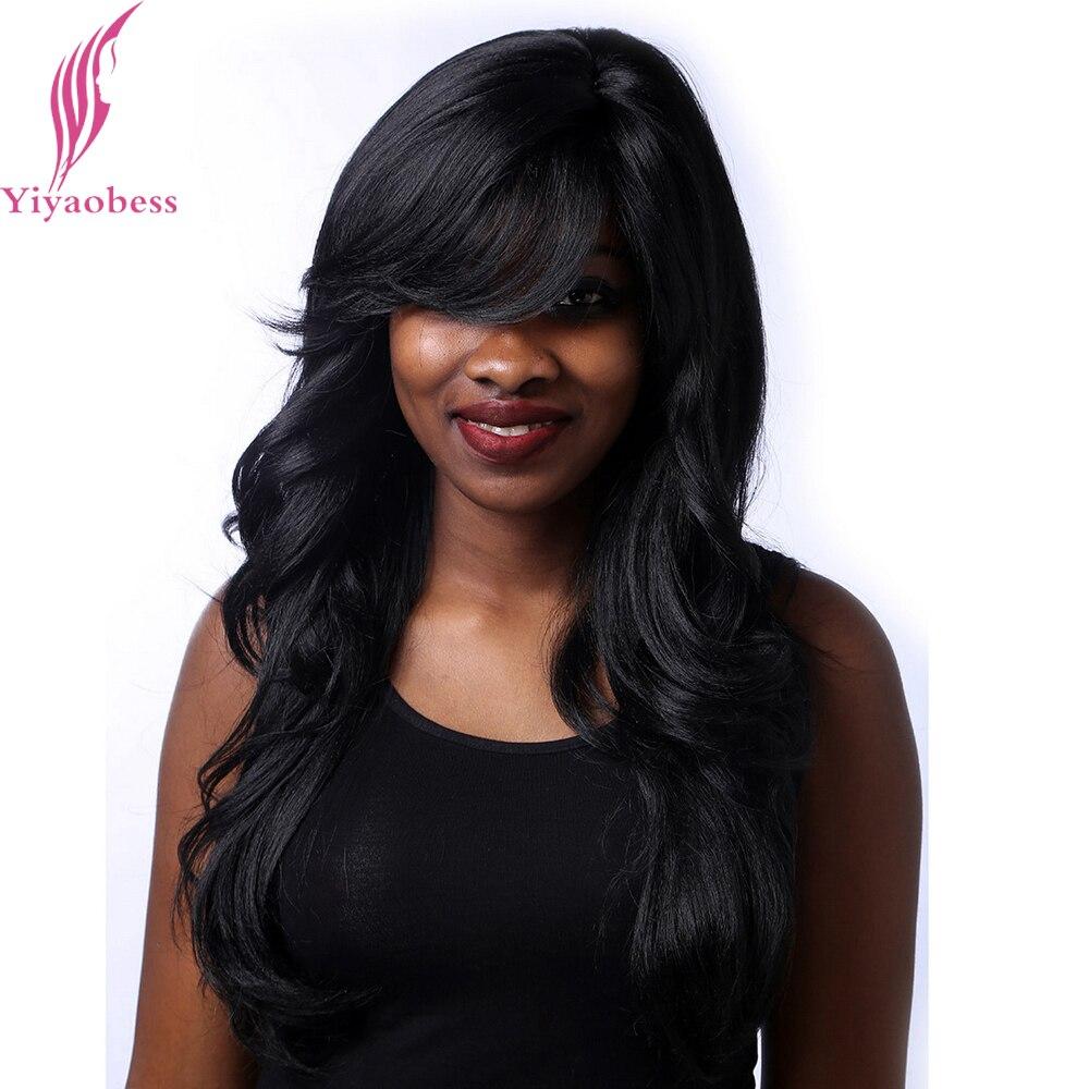 Yiyaobess 24 polegada 1b longo peruca preta ondulado penteados para mulheres resistente ao calor perucas sintéticas afro-americanas com franja