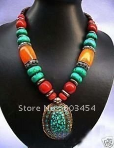 Wholesale Tibet / Nepal Tribal Jewellery Tibet Silver Coral Turquoise Necklace/ Pendant Necklaces/Cheap Free Shiping 1Pcs