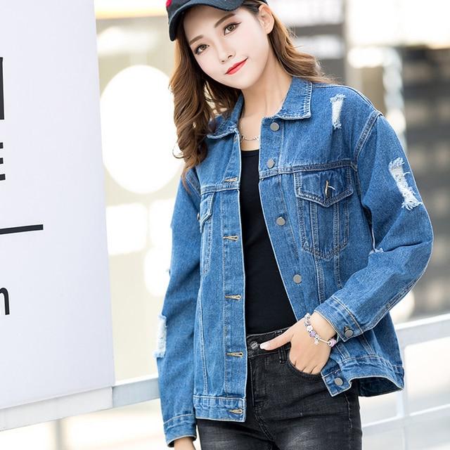 9394fcb5d17 Embroidery Ripped Women Denim Jackets 2018 New Fashion Design European  Style Women s Jacket Blue Color Girl Outwear Denim Jacket