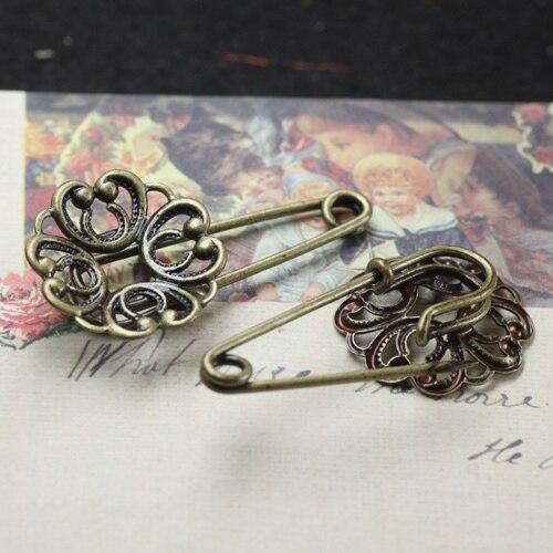 a27c0808ad755 Długość 35mm antique bronze plated vintage style kwiaty broszka pin bazy  puste tacy ustawienia diy biżuteria (50 części/partia) cy567