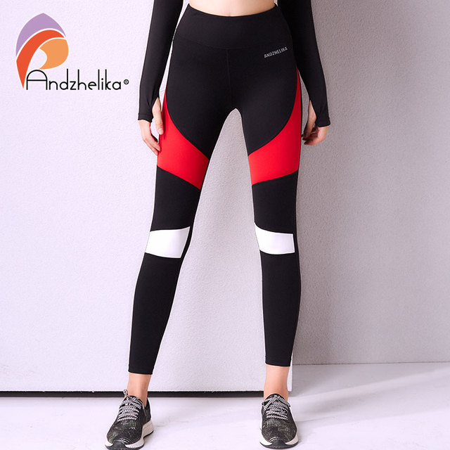 Andhelika 2018 Fitness Women Running Leggings Sports Black and Red Elastic  Pants for Yoga Gym Running aa17c6b0650f
