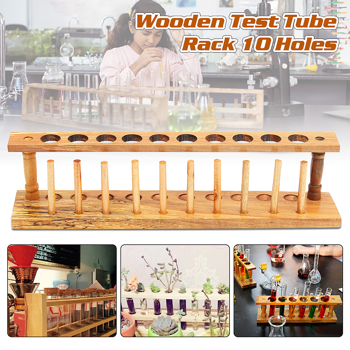 New Wooden Laboratory Test Tube Rack Test Tubing Holder Rack Shelf Storage Stand For School Lab Equipment sales promotion 1pcs wooden test tube rack 12holes 24pcs glass test tube 24pcs silicone stopper