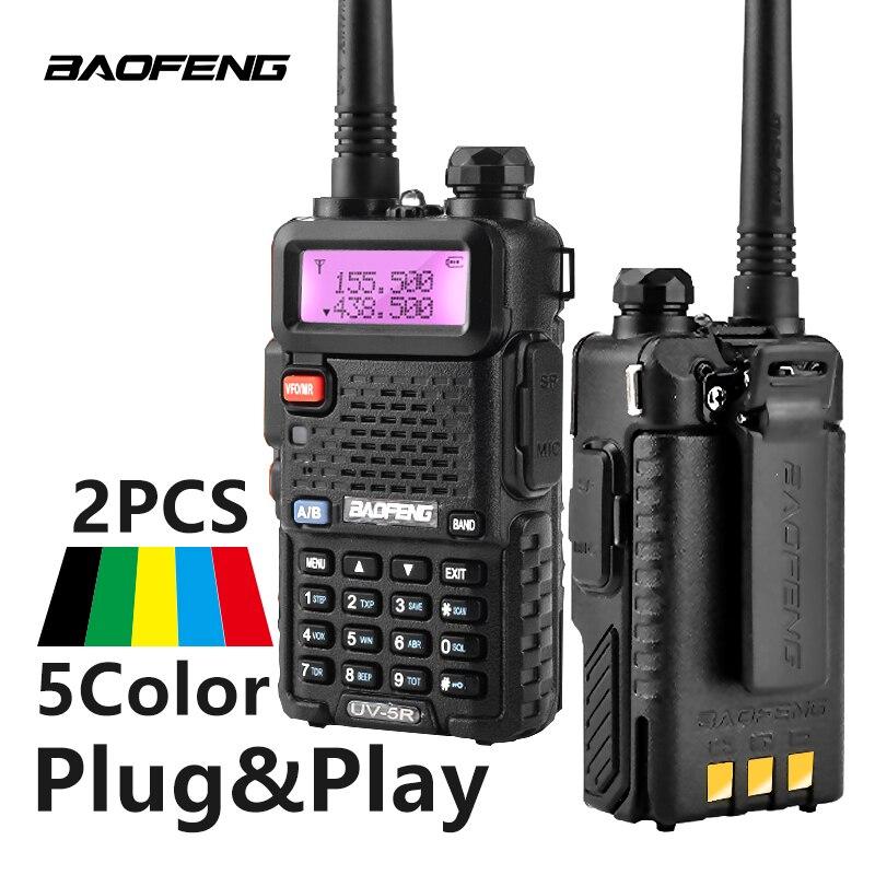 2 Pcs Baofeng UV-5R Walkie Talkie UV5R CB Stazione Radio 5 W 128CH VHF UHF Dual Band UV 5R Due way Radio per la Caccia Ham Radio