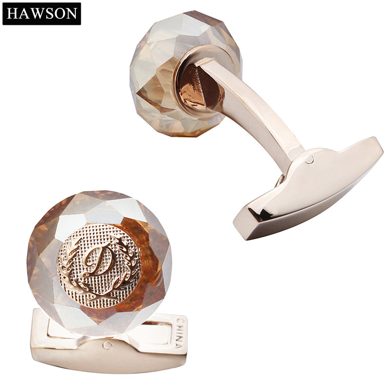 HAWSON Classic Round Cuff Stone pautan Tentera Laut Cuff Buttons - Perhiasan fesyen - Foto 2