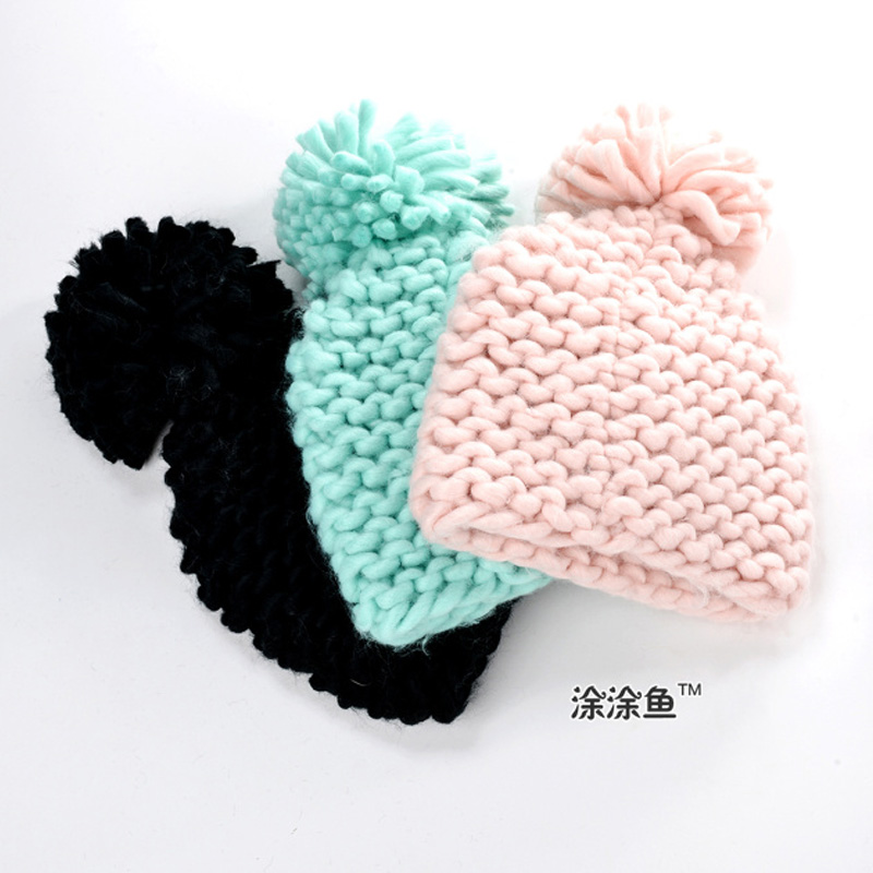 2016 Solid Color Girl Pom Pom Beanie Warm Knitted Kids Big Pompom Hat Children Wool Pompon Winter Hat Cap Drop Shipping the new children s cubs hat qiu dong with cartoon animals knitting wool cap and pile