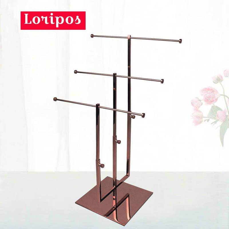 Metal Scarves Hook Hanger Bracket Stand Tie Display Rack Stand For Retail Necktie Display Holder Adjustable Height Tie Rack