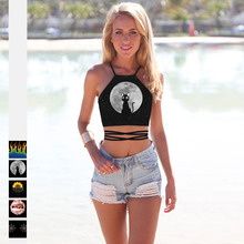 fashion creative cartoon print sexy crop top women summer mujer cute off shoulder femme cross waist belt