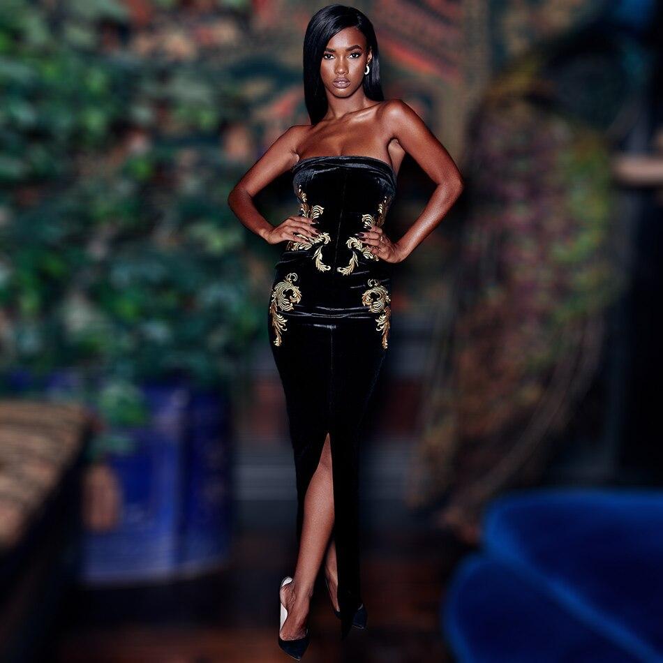 Kadın Giyim'ten Elbiseler'de Ladylike Nakış Askısız Kadife Elbise Kadınlar Için Zarif Kolsuz Ön Bölünmüş Kapalı Omuz Maxi Parti Femme Elbise'da  Grup 1