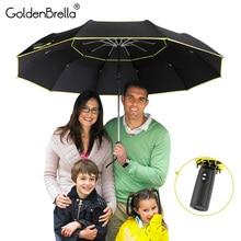 عالية الجودة 120 سنتيمتر مظلة أوتوماتيكية بالكامل الرجال امرأة المطر طبقة مزدوجة 3 للطي الأعمال هدية مظلة يندبروف الشمس المظلات