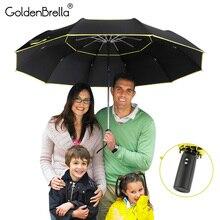 גבוהה באיכות 120cm מלא אוטומטית מטריית גברים גשם אישה שכבה כפולה 3 מתקפל מתנה עסקית מטריית Windproof שמש מטריות
