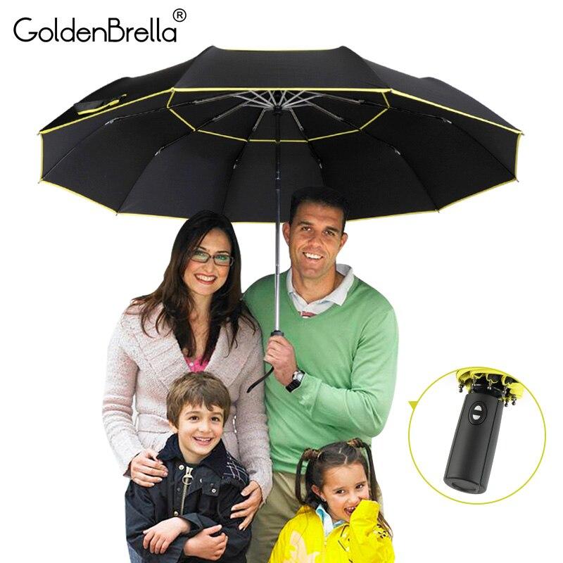 Alta calidad 120 cm completamente automática paraguas hombres lluvia mujer doble capa 3 plegable de regalo paraguas a prueba de viento a prueba de sol paraguas