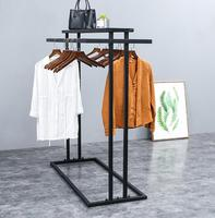 Nakajima shelf floor clothing store display stand. Double row side shelf parallel bars side hangers.089