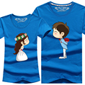 8 cores amantes homens mulheres dos desenhos animados T de manga curta de algodão T para casais S - 4XL