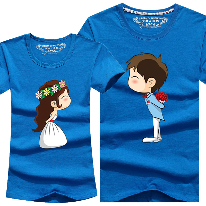 New Cartoon T Shirt 8 Colors Lovers clothes Women's Men's casual short sleeve t-shirts for couples S- 4XL Cotton tees