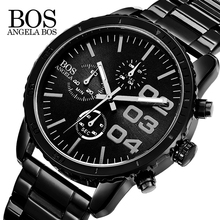 ANGELA BOS Chronograph Stop Watch Sport Quartz-watch Stainless Steel Mens Watches Top Brand Luxury Wristwatch Watches Men Clock