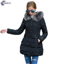 TNLNZHYN 2017 Winter women Coat fashion Quality Plus Size Defined Waist Thicken Cotton-padded fur collar Hooded Outerwear TT722
