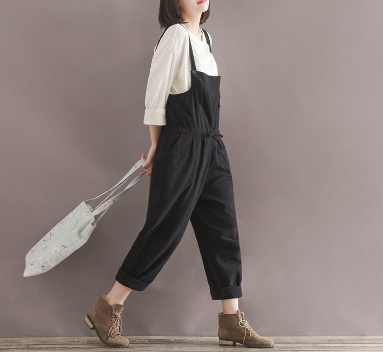 43d8d2649dd8 Casual Black Women Linen Rompers Vintage Loose Female Harem Pants ...