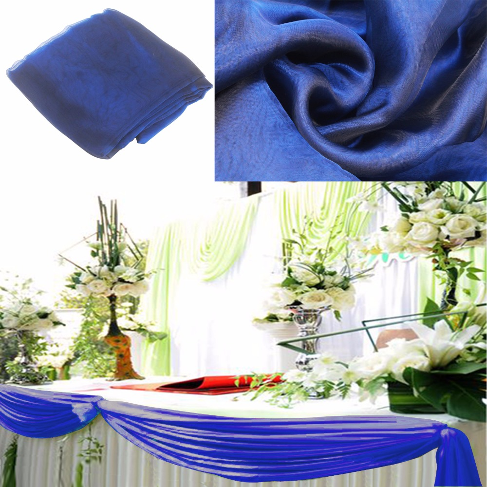 NEW Navy blue Sheer Swag DIY 5M*1.35M Sheer Organza Swag DIY Fabric Wedding Party Banquet Top Table Decor Stair Valance Bow New