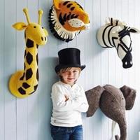 ins animal head stuffed animal plush toys animals wall decor Children's Bedroom Wall Hanging Decoration Photography Prop c093