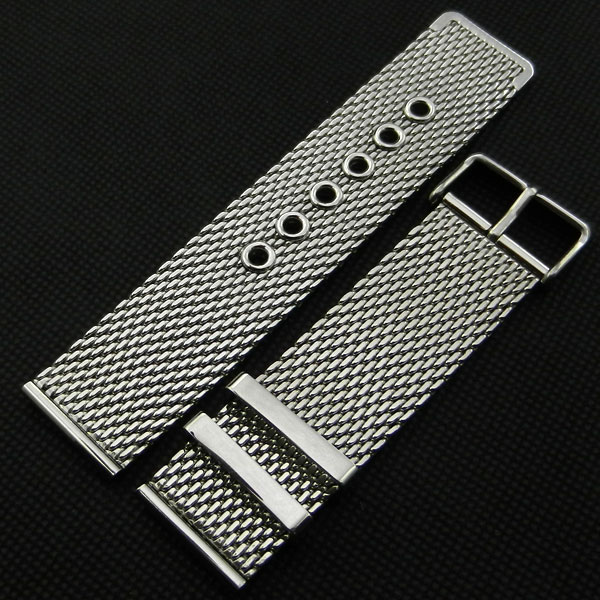 High Quality Silver 20mm 22mm 24mm Stainless Steel Mesh Watch Band Strap Pin buckle Men Women Replacement GD0115 high quality stainless steel watch band 18mm 20mm 22mm 24mm mesh shark silver watch strap for women men replacement watchband